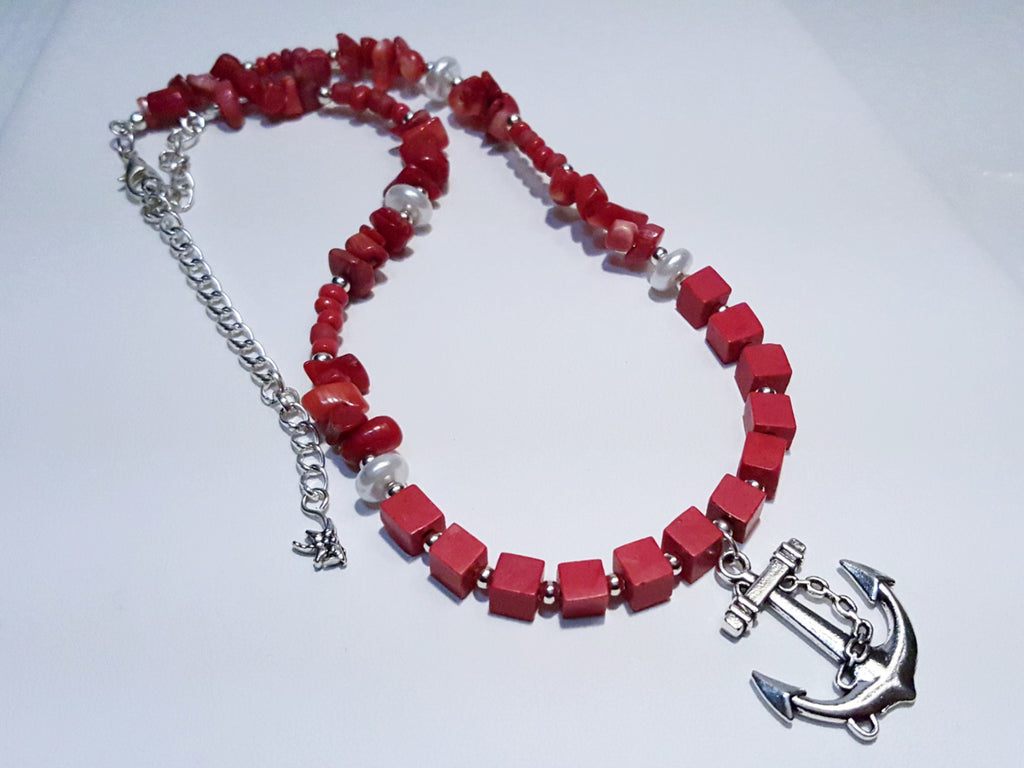 Catalina - Red Anchor Necklace
