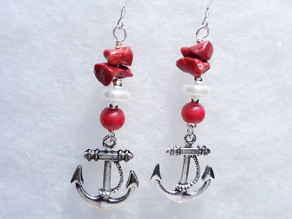 Catalina - Red Anchor Earrings