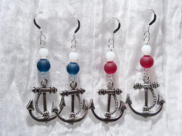 Sailor Red or Blue Anchor Earrings