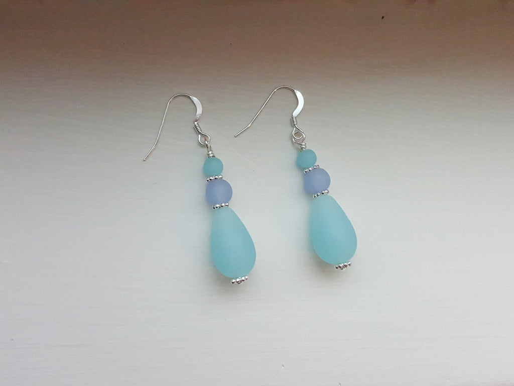 The Blues Sea Glass Earrings - B