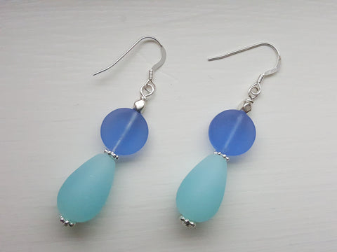 The Blues Sea Glass Earrings - A