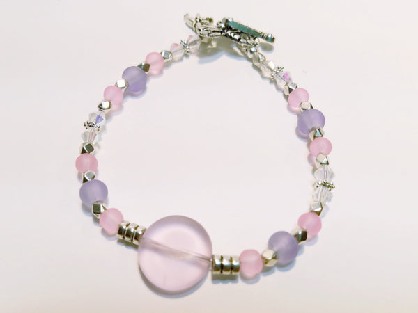 Pink and Lavender Sea Glass Bracelet