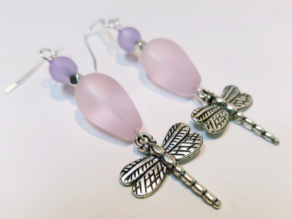 Pink and Lavender Dragonfly Earrings