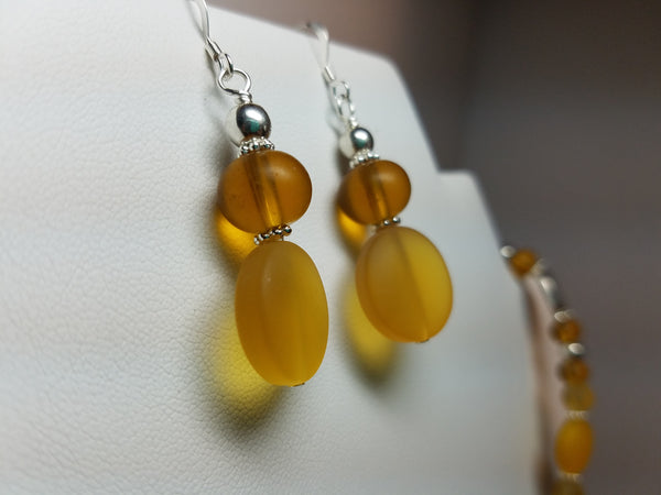 Yellow and Amber Sea Glass Earrings