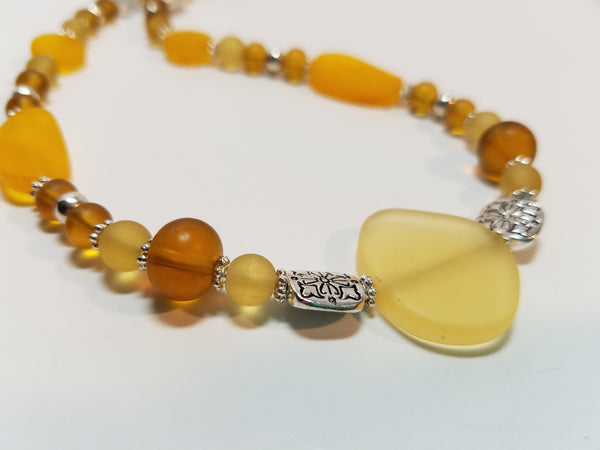 Lemon Yellow, Saffron and Amber Sea Glass Necklace