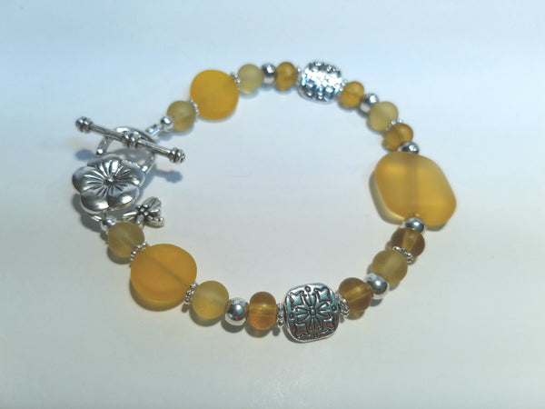Lemon, Saffron and Amber Sea Glass Bracelet