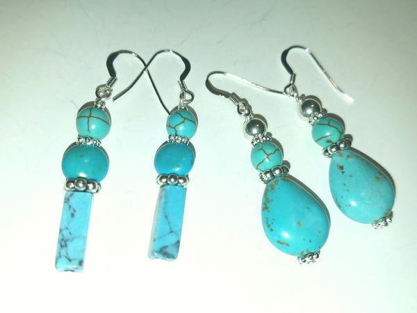 Blue Magnesite and Silver Teardrop Earrings