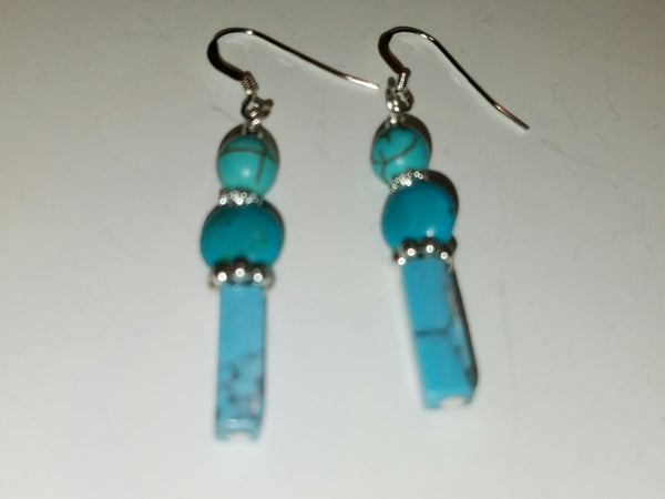 Blue Magnesite and Silver Earrings