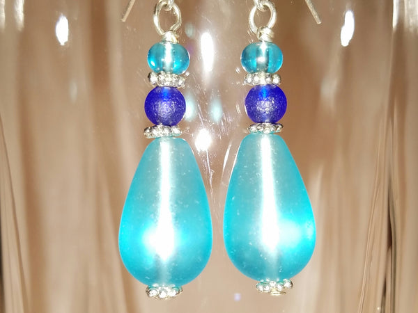 Beach Glass Blues Earrings