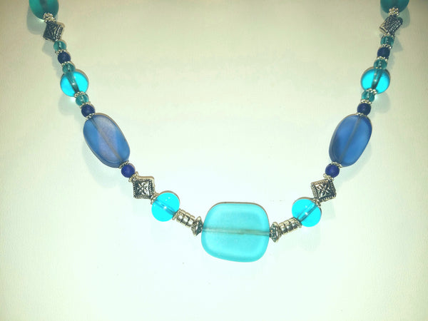 Beach Glass Blues Necklace