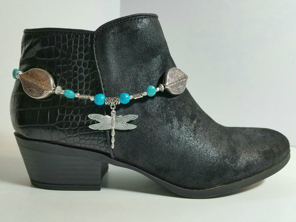 Blue Magnesite with Silver Dragonfly Boot Bling