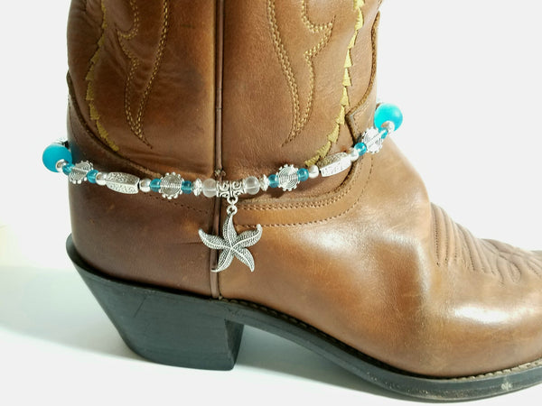 Silver and Turquoise Sea Glass Boot Bling