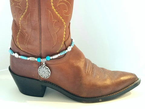 Silver and Blue Magnesite with Silver Medallion Boot Bling