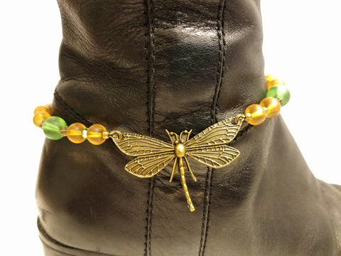 Dragonfly Green and Yellow Sea Glass Boot Bling