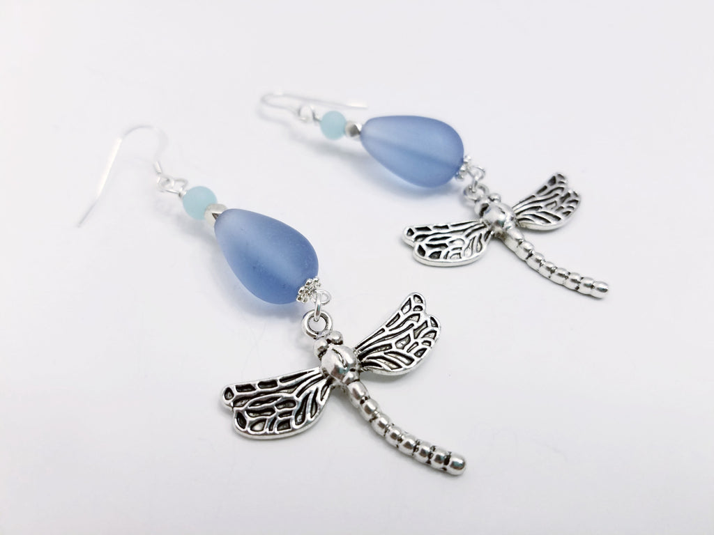The Blues Sea Glass Dragonfly Earrings - F