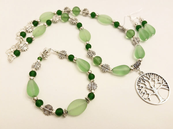 Bright Green Sea Glass Tree of Life Necklace