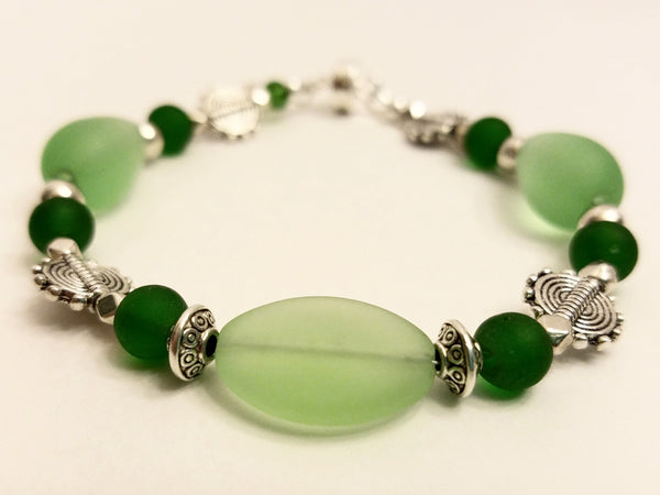 Bright Green Sea Glass Bracelet