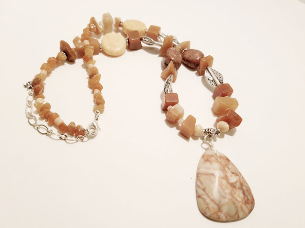 Peachy Red Stone Necklace