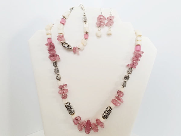 Pink Quartz and White Coral Necklace