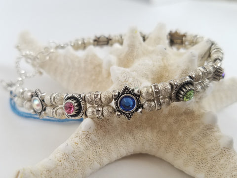 Silver Stardust Multi Colored Crystal Bracelet