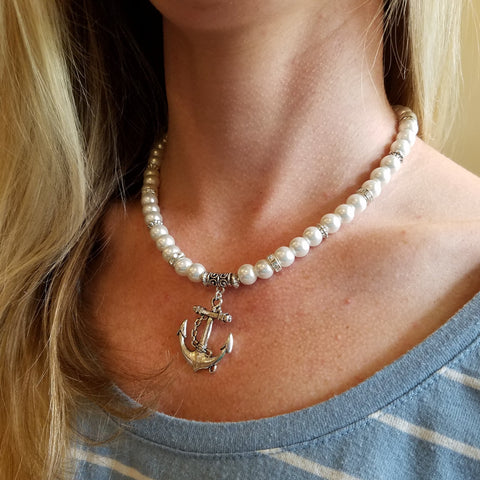 Anchors Away Pearl Necklace