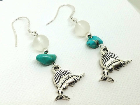 Marlin and Turquoise Earrings