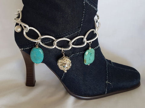 Turquoise and Chain Boot Bling