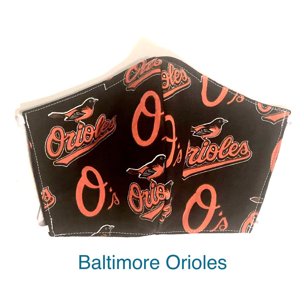 Orioles Face Mask, Baseball Face Mask, 100% cotton, 3 layer with filter pocket and nose wire, 2 layer mask