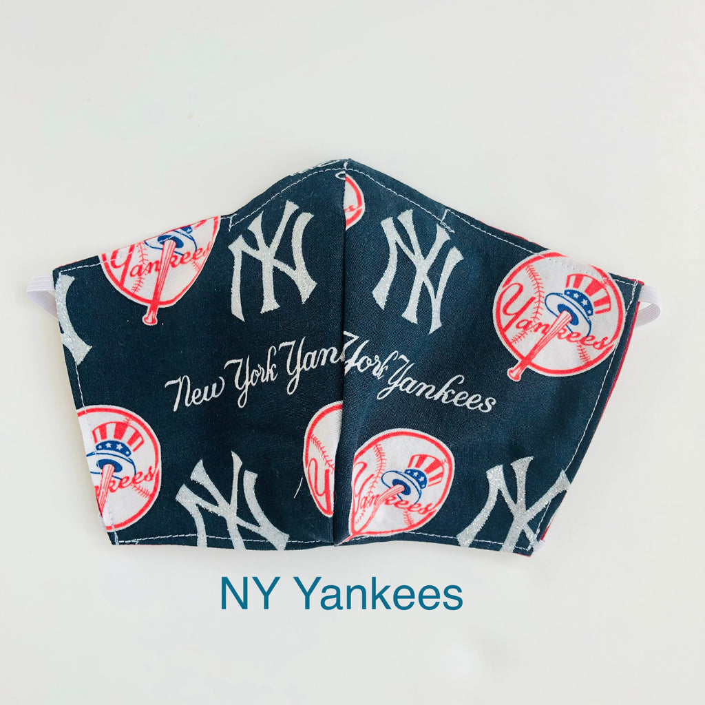 MLB New York Yankees Face Mask, Baseball Face Mask, 100% cotton, 3 layer with filter pocket and nose wire, 2 layer mask