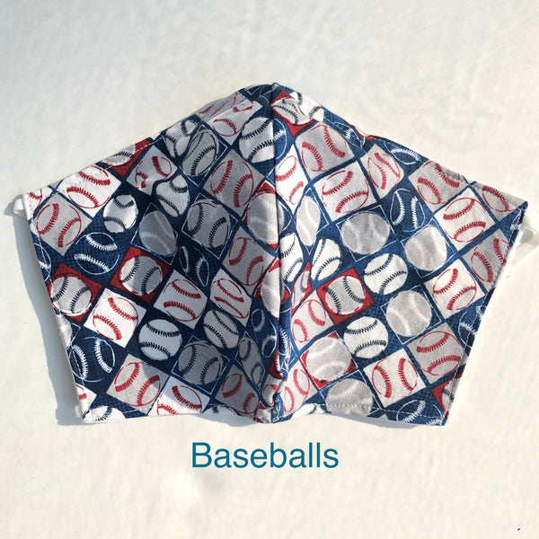 Baseball Face Mask, 100% cotton, 3 layer with filter pocket and nose wire, 2 layer mask
