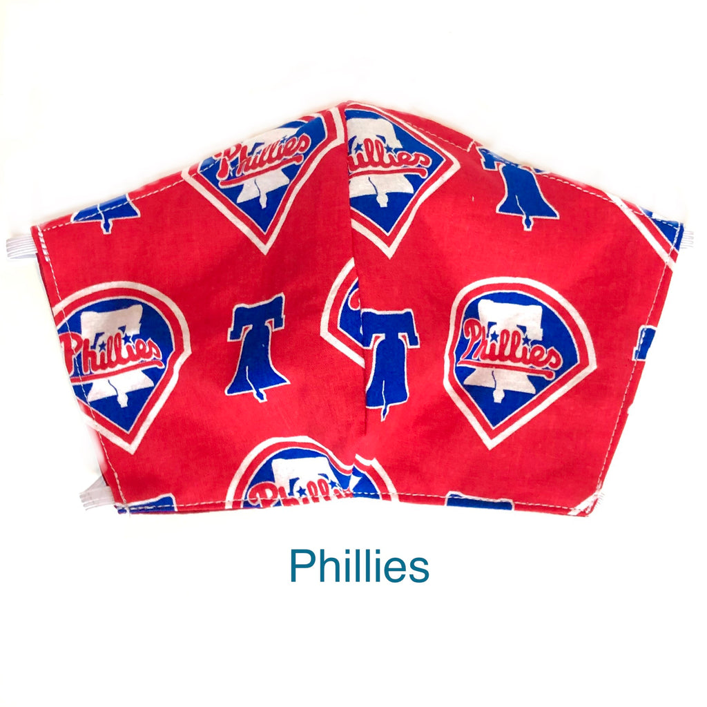 MLB Philadelphia Phillies Face Mask, Baseball Face Mask, 100% cotton, 3 layer with filter pocket and nose wire, 2 layer mask
