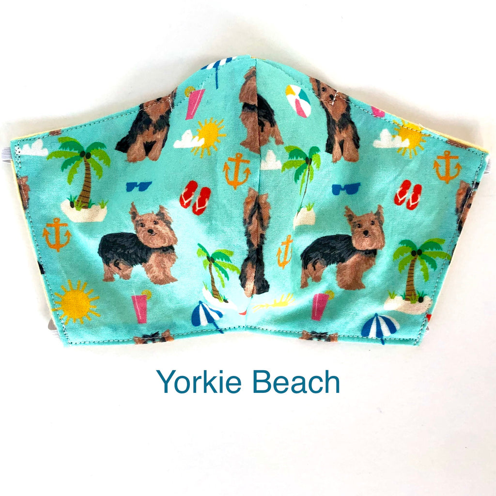 Yorkie Beach Face Mask, 100% cotton, 3 layer with filter pocket and nose wire, 2 layer mask