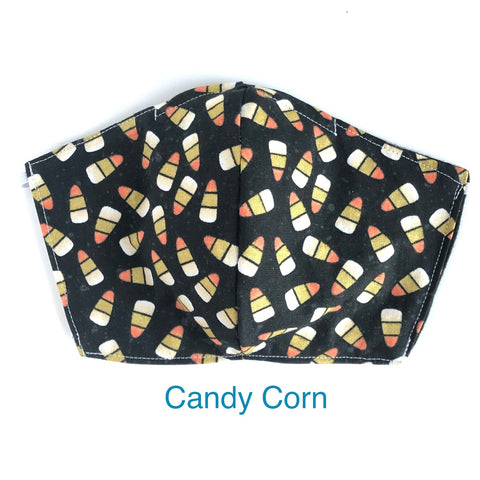 Halloween Candy Corn Mask, 100% Cotton, Made in the USA, 3 Layer with filter pocket, 2 layer, nose wire.