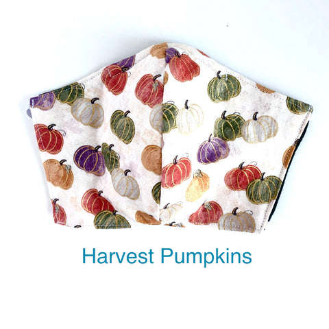 Harvest Pumpkin Face Mask, 100% Cotton, Made in the USA, 3 Layer with filter pocket, 2 layer, nose wire.