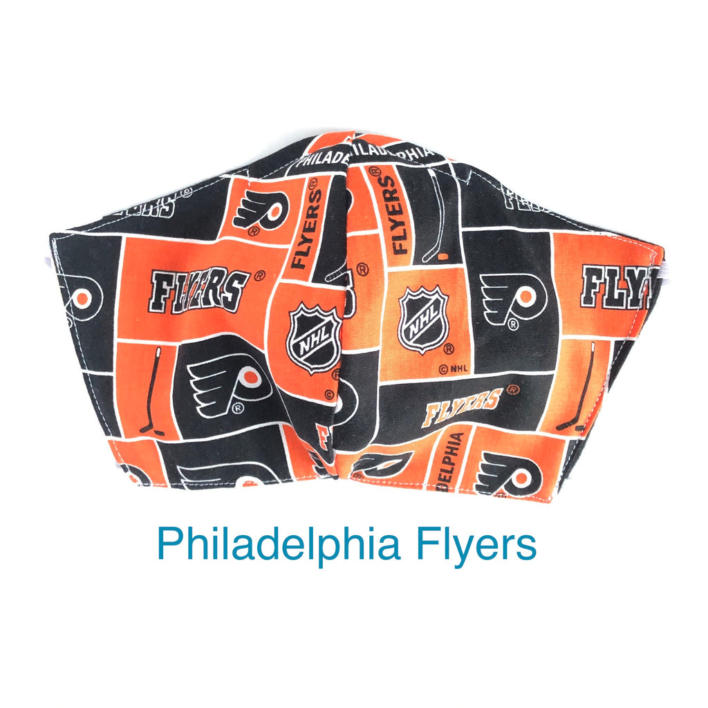 NHL Philadelphia FlyersFace Mask, Ice Hockey Cloth Masks, 3 layer with Filter Pocket and Nose Wire, 2 layer masks, Made in USA, Cotton Mask