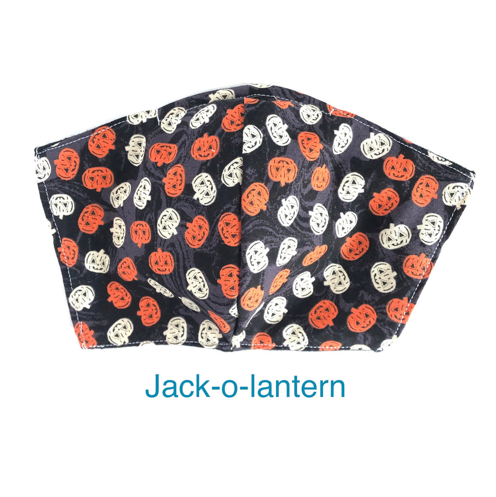 Halloween Jack-O-Lantern Pumpkin Face Mask, 100% Cotton, Made in the USA, 3 Layer with filter pocket, 2 layer, nose wire.