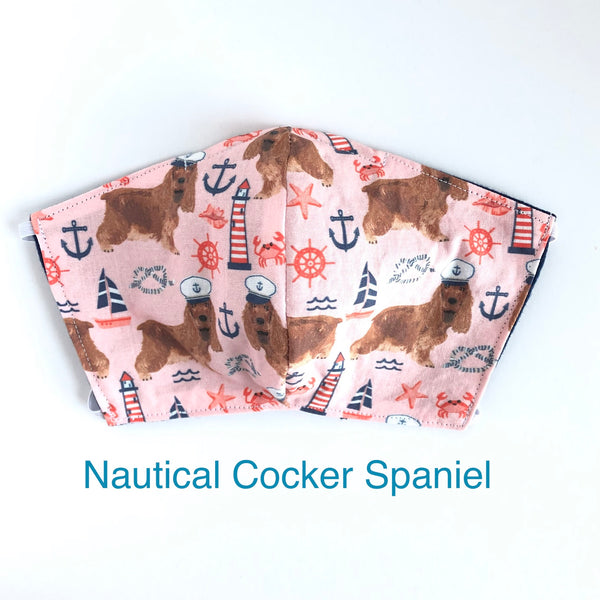 Nautical Cocker Spaniel Dog Face Mask, 100% Cotton, Made in the USA, 3 Layer with filter pocket, 2 layer, nose wire.