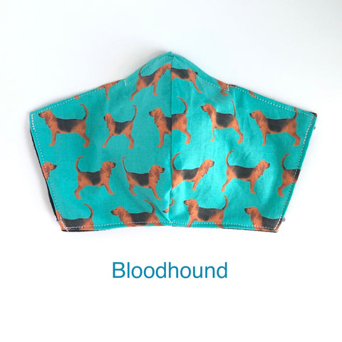 Blood Hound Face Mask, 100% Cotton, Made in the USA, 3 Layer with filter pocket, 2 layer, nose wire.