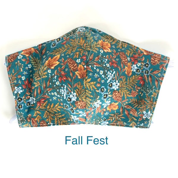 Fall Fest Face Mask, 100% Cotton, Made in the USA, 3 Layer with filter pocket, 2 layer, nose wire.