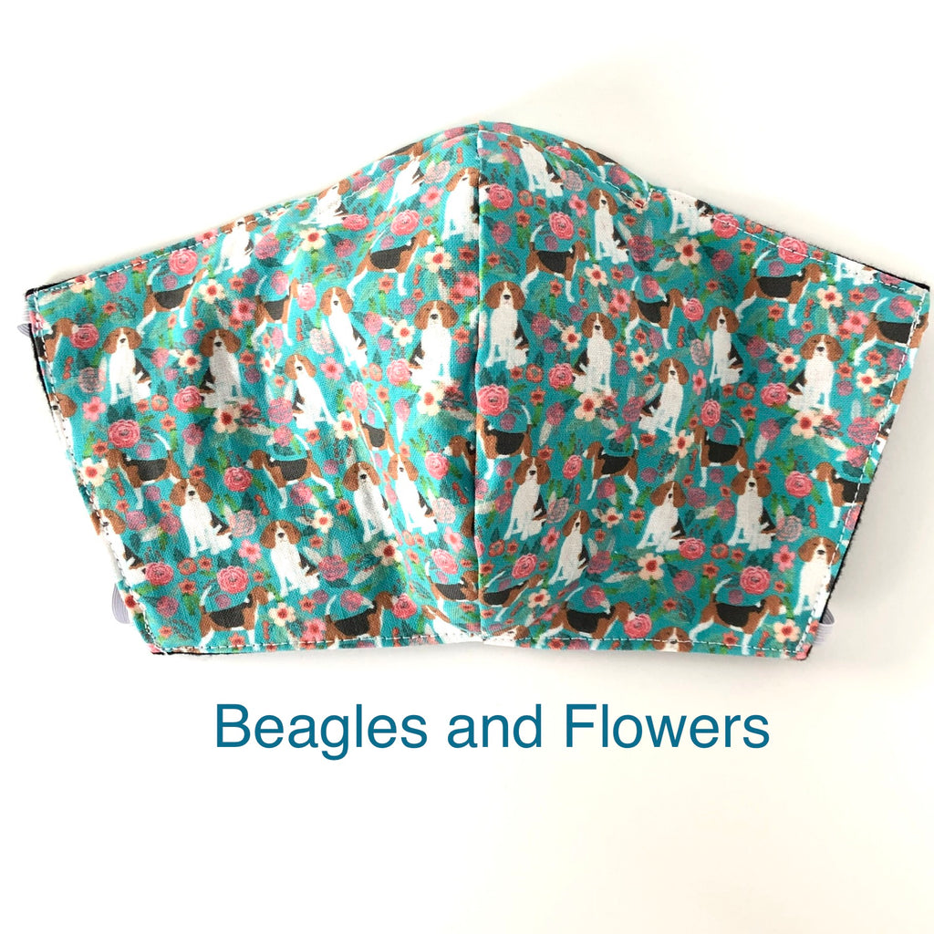 Beagles and Flower Face Mask, 100% cotton, 3 layer with filter pocket and nose wire, 2 layer mask