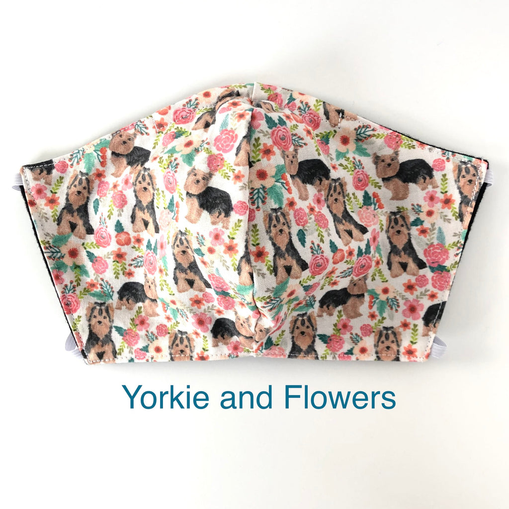 Yorkie and Flowers Dog Face Mask, 100% cotton, 3 layer with filter pocket and nose wire OR 2 layer mask