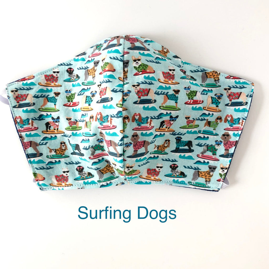 Surfing Dogs Face Mask, 100% cotton, 3 layer with filter pocket and nose wire OR 2 layer mask