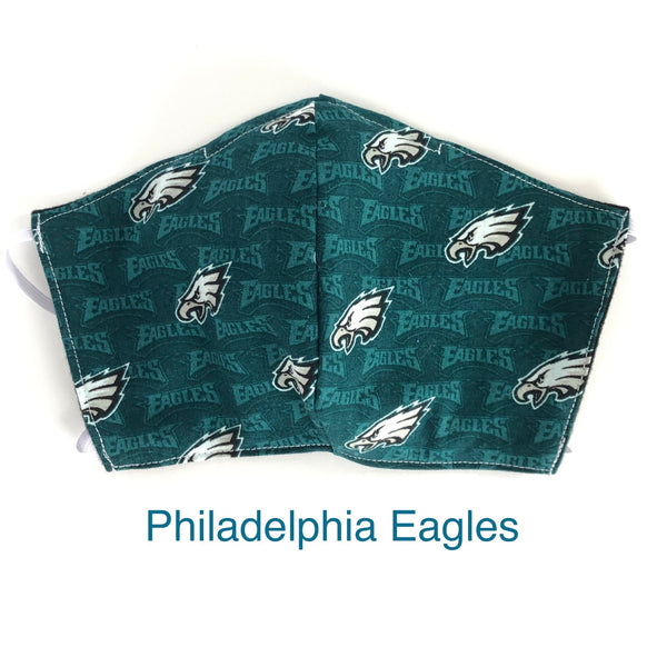 Philadelphia Eagles NFL Face Mask, 100% cotton, 3 layer with filter pocket and nose wire, 2 layer mask