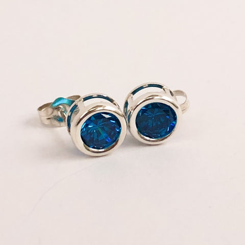 Sparkling Blue Zircon Earrings