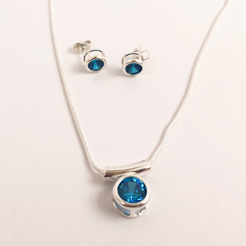 Sparkling Blue Zircon Necklace and Earrings Set