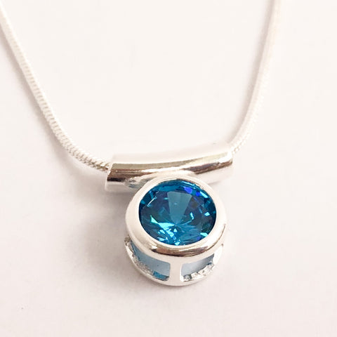 Sparkling Blue Zircon Necklace