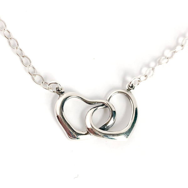 Dainty Double Heart Sterling Silver Necklace