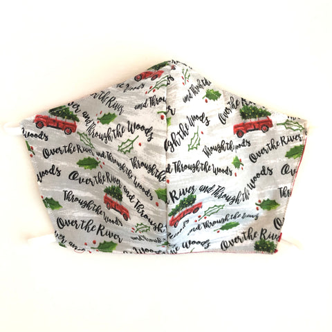 Red Truck Christmas Face Mask, 100% Cotton, Made in the USA, 3 Layer,  2 layer, nose wire.