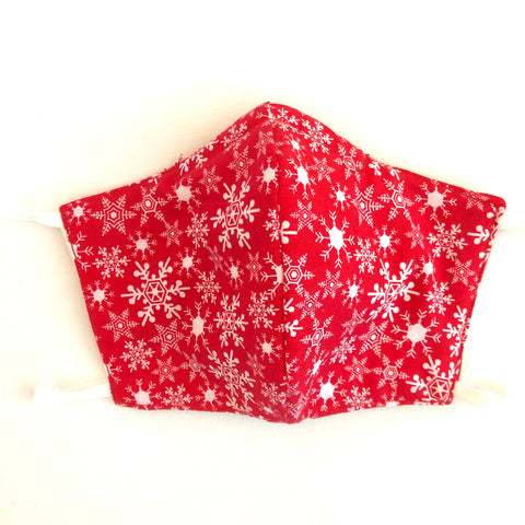 Red Snowflake Christmas Face Mask, 100% Cotton, Made in the USA, 3 Layer,  2 layer, nose wire.