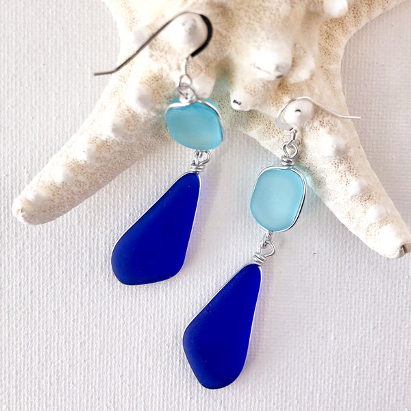 Petals of Hope Double Sea Glass Earrings